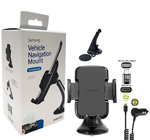 Samsung Galaxy Universal Suction Car Mount with Fast Car Charger & C TYPE Adapter (US Retail Packing Kit)