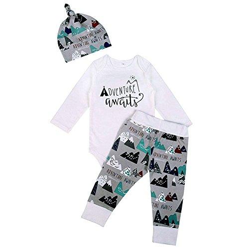 GRNSHTS Baby Boys 3Pcs Mountain Print Long Sleeve Pant Set Romper + Pants + Hat (70/0-6 Months, Grey)