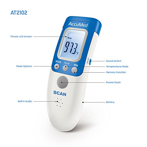 AccuMed AT2102 Non-Contact, Instant-Read Handheld Infrared Medical Thermometer - 7-in-1 FunctionalityFDA Approved with Non-invasive, Professional Accuracy for Home Medical Use by AccuMed (Image #4)