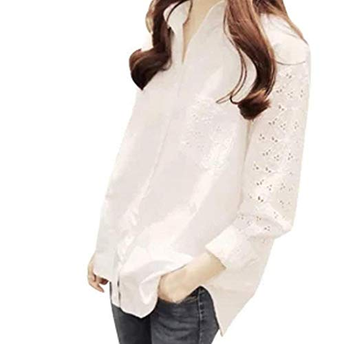 - Women Hollow Out Lace Stretchy Long Sleeve Elegant Blouse Casual Plus Size Blouse Shirts Tops (White, S)