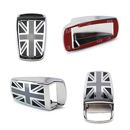 iJDMTOY (2) Black UK Union Jack Style Window Wiper Washer Spray Nozzle Covers For MINI Cooper R50 R52 R55 R56 R57 R58 R60 R61, etc ()