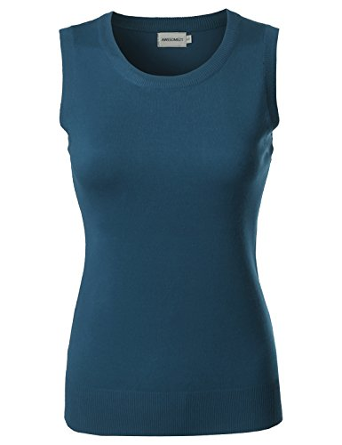 Viscose Solid Office Career Soft Stretch Sleeveless Knit Top Teal Size S