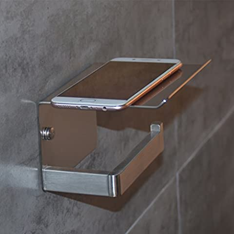 Toilet Paper Holder with Cell Phone Storage Shelf Rack, SUS304 Stainless Steel Bathroom Tissue Roll Holder, Wall Mount Brushed - Nickel Recessed Toilet Paper Holder
