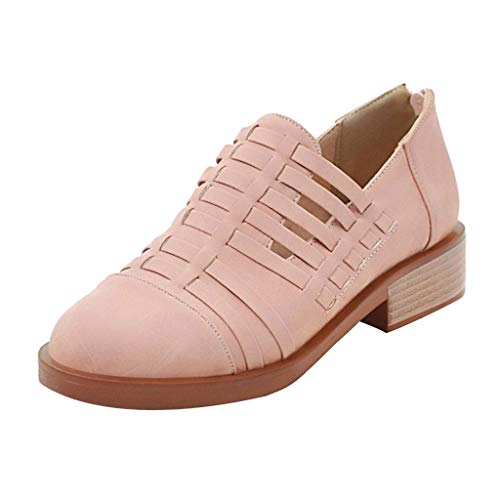 (Women's Ankle Booties Flat Closed Toe Comfortable Slip On Cut Out Low Heel Casual Office Flat Shoes Pink)