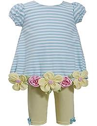 Baby Girls Aqua Blue Stripe Daisy Flower Border Bubble Dress/Legging Set