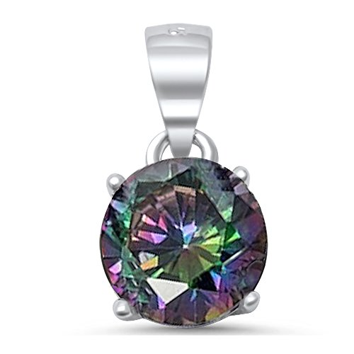 Round Simulated Gemstone.925 Sterling Silver Solitaire Pendant All Colors Available (Rainbow Cubic Zirconia) -