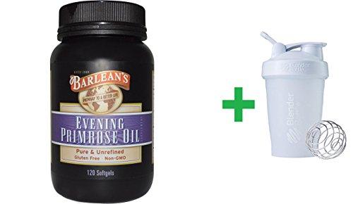 (Barlean's, Evening Primrose Oil, 120 Softgels + Sundesa, BlenderBottle, Classic With Loop, White, 20 oz)