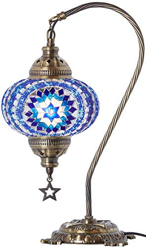 (33 Colors) DEMMEX 2019 Turkish Moroccan Mosaic Table Lamp with US Plug & Socket, Swan Neck Handmade Desk Bedside Table Night Lamp Decorative Tiffany Lamp Light, Antique Color Body (2) (Lamps Hanging Turkish)