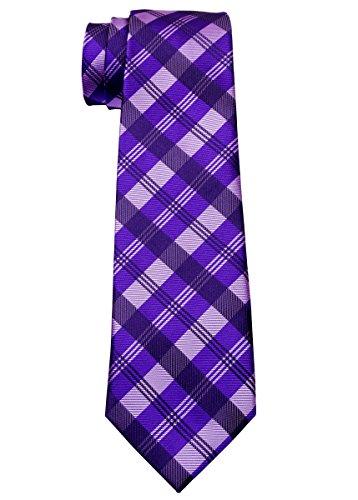 Tartan Plaid Patterns Woven Microfiber Boy's Tie (8-10 years) - Purple