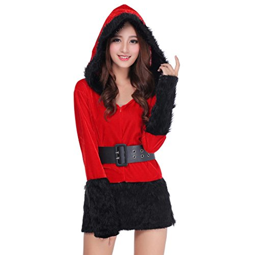 [Christmas XMAS Nightwear, Sunfei Women Sexy Santa Christmas Costume Fancy Dress Xmas Office Party Outfit (Black] (Lady Santa Outfit)