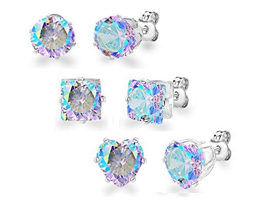 Diane Lo'ren White Gold Plated 8mm Circle Square Heart Mystic Aurora Borealis Crystal Stud Earring Set -