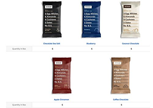 RXBAR Whole Food Protein Bar, Whole30 Compliant Variety Pack, 3 Flavors (30 (Whole Food Meal)