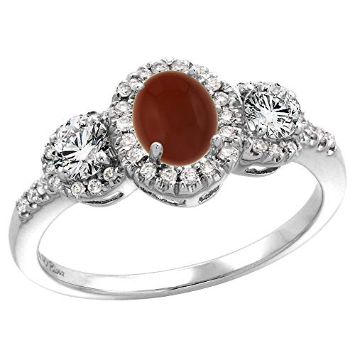 (14k White Gold Diamond Genuine Brown Agate Halo Engagement Ring Oval 7x5mm, size 7.5 )