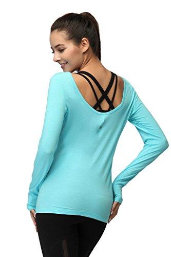 Tofern Bleu Confort Peau Course Ultra Maximum Doux Fitness shirt À shirt Yoga Pied Coton Manches Lyocell Seconde T Sweat Femme Longues rZ7UqRrw