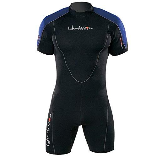 Henderson Thermoprene Men's 3mm Back Zipper Shorty Wetsuit, Black/Blue, XX-Large