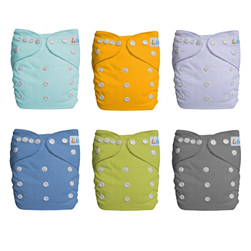 LBB Cloth Diapers Covers & Inserts, Pocket Baby Diapers(6 Pack), LBBZH6CX60002