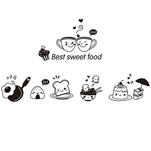 Lckh Plane Wall Sticker Kitchen Stickers Coffee Bread Best Sweet Happy Western Food DIY Removable Wall Decoration for Oven Cooking Bench Kitchenware Refrigerator Decoration