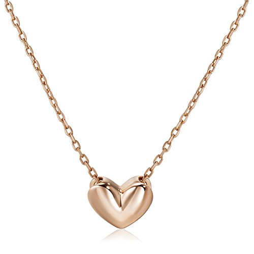 S.Leaf Minimal Necklace Dainty Heart Necklace Sterling Silver Heart Pendant Charm Necklace (rose (Rose Charm Pendant)