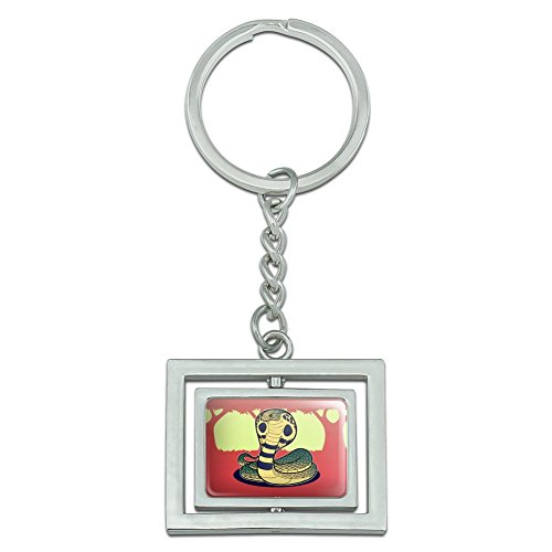 Cobra Snake Spinning Rectangle Chrome Plated Metal Keychain Key Chain Ring - Chrome Plated Snake Chain