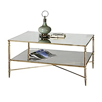 Uttermost 24276 Henzler Mirrored Glass Coffee Table, Gold Leaf Finish