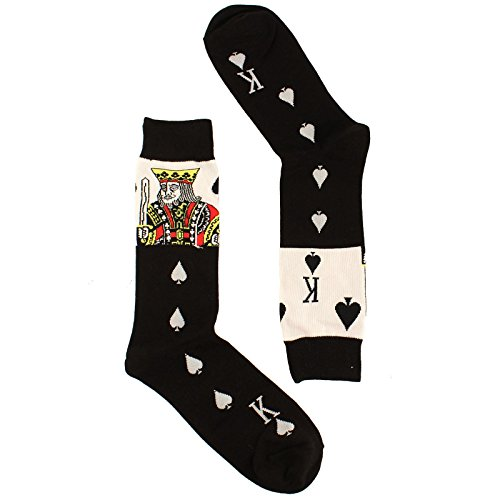 Men's Everday Novelty King of Spades Poker Trouser Dressy Casual Comfy (Poker Stockings)