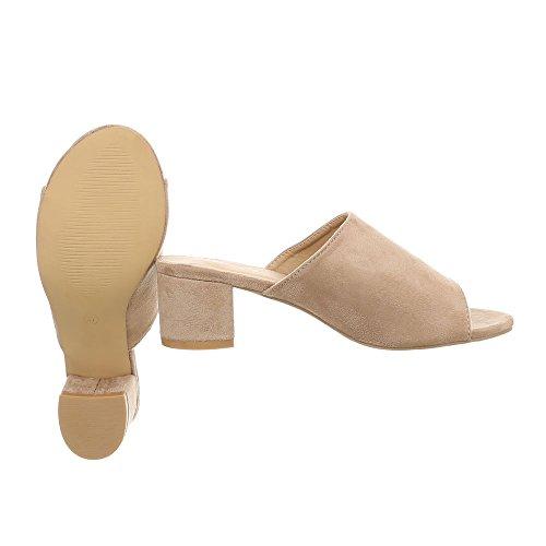 Ital-Design Zapatos Para Mujer Sandalias de Vestir Mini Tacón Zuecos beige OD-47