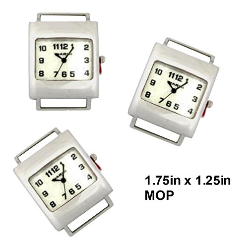 Geneva Face Ribbon Watch - PlanetZia 2pcs Rectangle Ribbon Watch Faces for Your Interchangeable Beaded Bands TVT-RWS02 (Pearl)