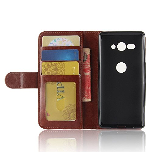 Sony Xperia XZ2 Compact Funda DISLAND [Titular] [Slim] [Lisa] Soporte de PU cuero lujo cubierta protectora caso para Sony Xperia XZ2 Compact,Blanco Brown