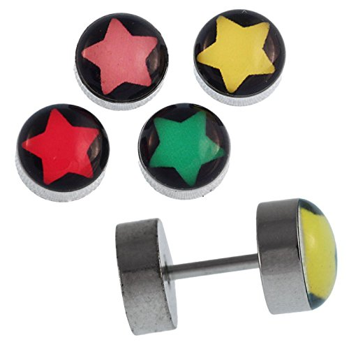 Fake piercing plug screw closure stainless steel silver star colorful black pink ()