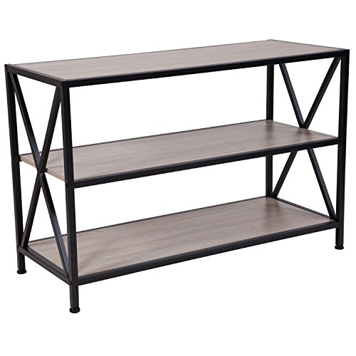 Flash Furniture Chelsea Collection Sonoma Oak Wood Grain Finish Bookshelf with Metal Frame - NAN-JH-1784-GG
