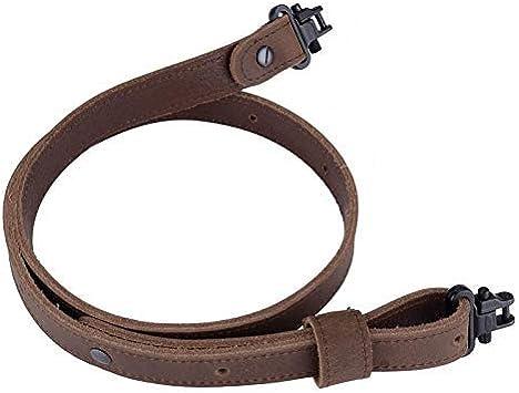 BOOSTEADY Portafusil Eslinga para Rifle, de Cuero de búfalo con especificaciones Militares, Cinturón Estilo Retro y Firme, Costura de Cuero, 1*Tornillo Ancho Negro