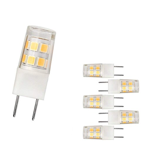 Under Cabinet Halogen Lighting - LED G8 Light Bulb 2.5 Watts Warm White G8 Base Bi-pin Xenon JCD Type LED 120V 20W Halogen Replacement Bulb for Under Counter Kitchen Lighting, Under-Cabinet Light.Pack of 5 (Warm White)