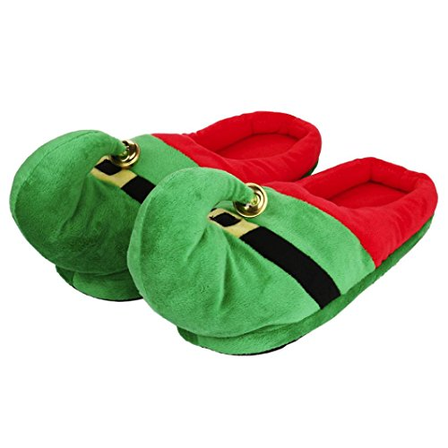 - Kintaz Unisex Plush Cotton Home Slippers Winter Warm Indoor Elf Christmas Slippers Shoes (M, Green)