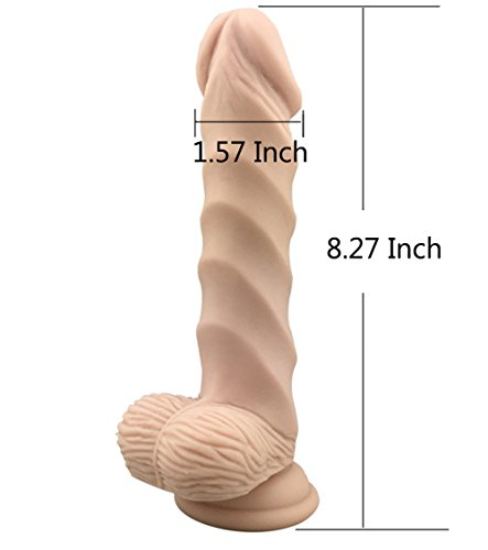 DUOM Realistic Dildo 8.27 Inch Pure Liquid Silicone Penis with Suction cup Adult Sex Toy (Flesh)