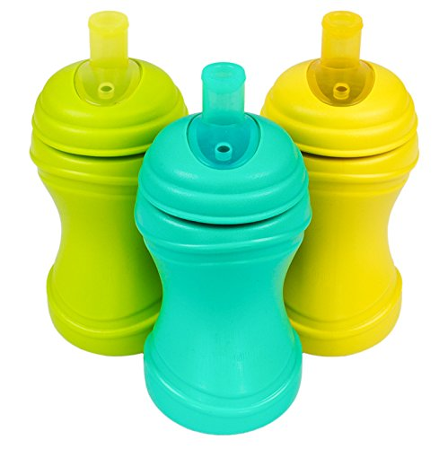 Re-Play Made in the USA 3pk Soft Spout Sippy Cups for Baby and Toddler - Green, Aqua, Yellow (Aqua Asst.)