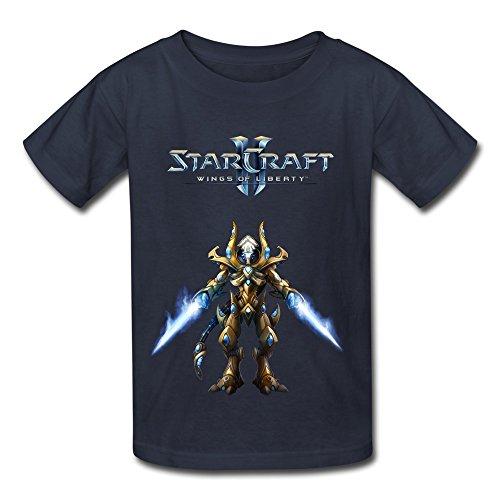 RILI Kid's Cartoon StarCraft T-shirts Size M Navy