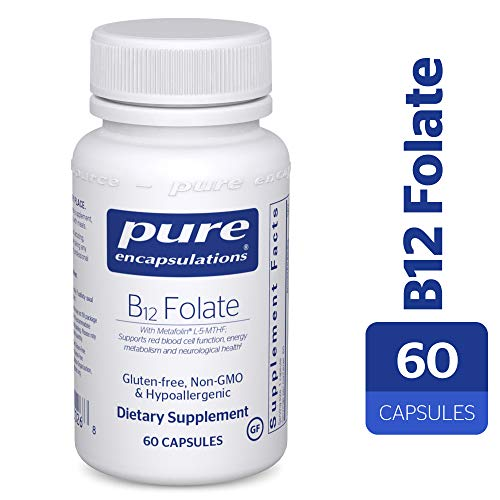 Pure Encapsulations - B12 Folate - Activated Vitamin B12 and Folate - Hypoallergenic Supplement - 60 - Raw Sublingual B12