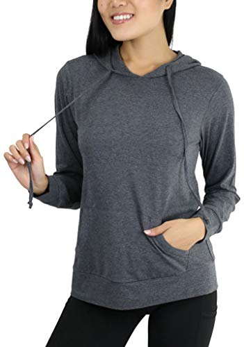 Ls Pullover Top - ToBeInStyle Women's Thin L.S. Drawstring Hooded Sweatshirt - Charcoal Grey - M