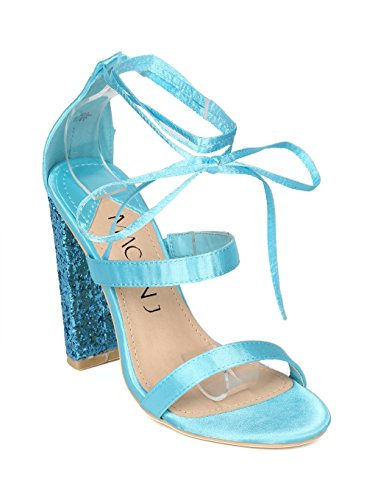 Alrisco Women Satin Strappy Ankle Wrap Glitter Block Heel Sandal - HH22 by Mackin J Collection Blue Satin F0DRHra