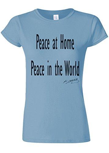 麻酔薬健康的難民Peace at Home Peace in the World Ataturk Quote Novelty Light Blue Women T Shirt Top-XL