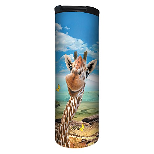 (Tree-Free Greetings BT21906 Barista Tumbler Vacuum Insulated, Stainless Steel Travel Coffee Mug/Cup, 17 Ounce, Giraffe Selfie)
