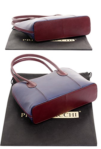 Storage Navy Long Smooth Italian Bag Bag Style Hand Classic Protective Burgundy Handled Shoulder Tote Primo Branded Sacchi® amp; Handbag a Includes Bag Leather or Grab Made gqxnE185