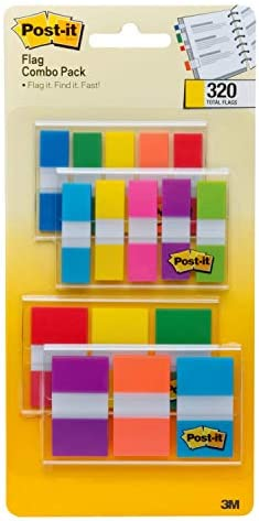 Post-it Flags Assorted Color Combo Pack, 320 Flags Total, 200 1-Inch Wide Flags and 120.5-Inch Wide Flags, 4 On-The-Go Dispensers/Pack (683XL1)