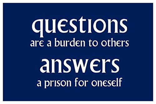 ce5e8167c Questions are A Burden to Others. Answers A Prison for Oneself. Poster  24x36 inch