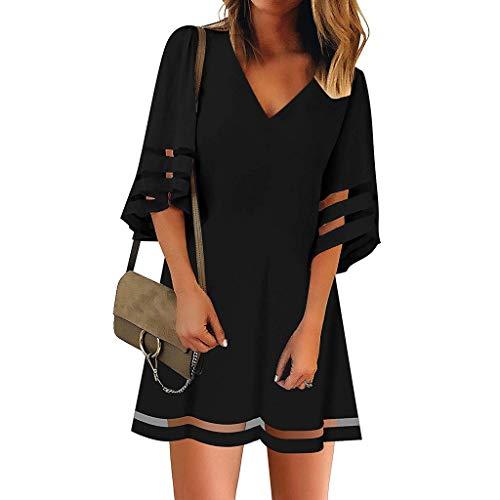 Women's Dress V Neck Mesh Panel Blouse 3/4 Bell Sleeve Loose Top Shirt Dress Black ()