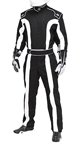 K1 Race Gear Triumph 2, Single Layer SFI-1 Proban Cotton Fire Suit (Black/White, Small) ()