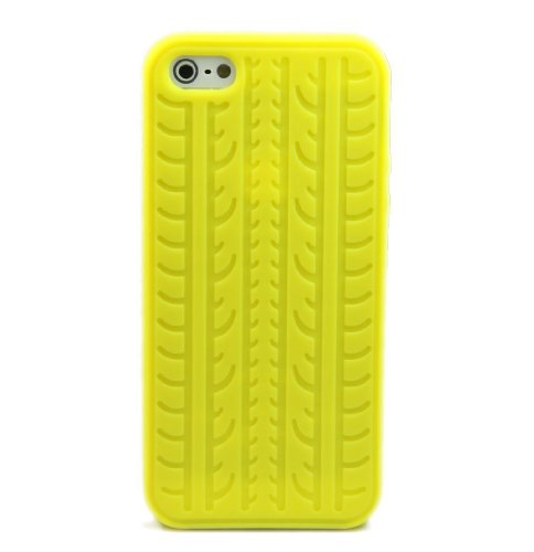 niceeshop(TM) Yellow Tyre Tread Silicone Rubber Soft Case Cover for iPhone 5 5S + Screen Protector