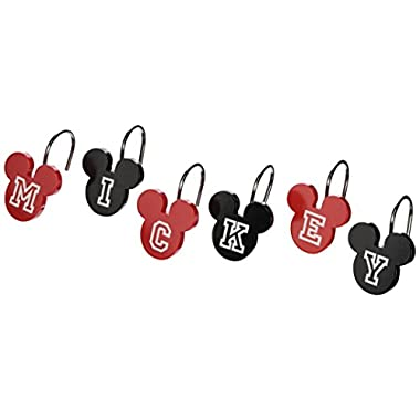 Disney Mickey Mouse Shower Curtain Hooks, Set of 12