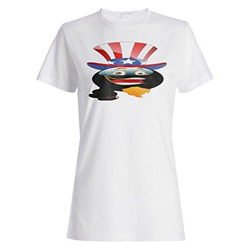 Smiley onkel sam usa gesicht neuheit lustige weinlese kunst Damen T-shirt a283f