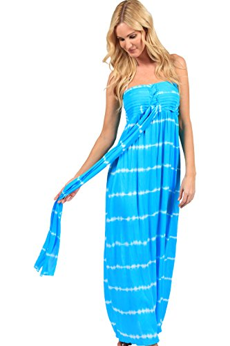 Ingear Maxi Dress Long Tie Dye Fashion Summer Casual Dress Beachwear (Small/Medium, Turquoise) (Beachwear Summer)
